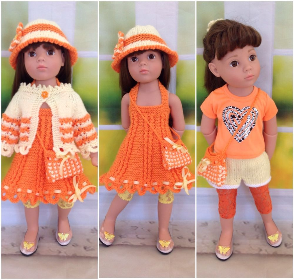GOTZ HANNAH AMERICAN GIRL DOLL DESIGNAFRIEND ORANGE&LEMON DRESS SET ...