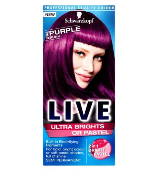 Schwarzkopf Live Ultra Brights 094 Purple Punk Hair Dye Schwarzkopf Live Colour Punk Hair Live Hair Colour