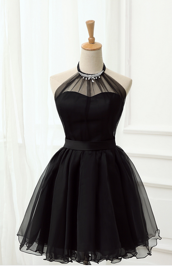 Cute Little Black Short Dresses, Homecoming Dresses, Halter Short Prom Dresses #homecomingdressesshort