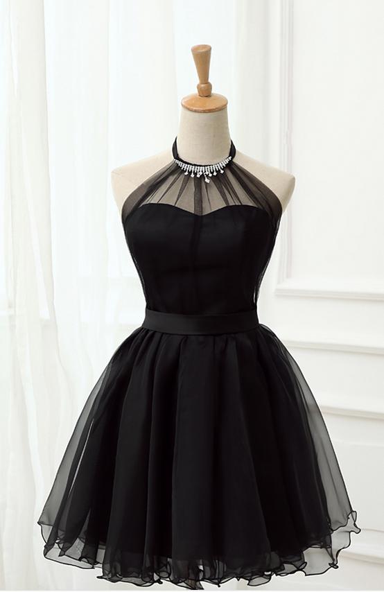 Cute Little Black Short Dresses, Homecoming Dresses, Halter Short Prom Dresses