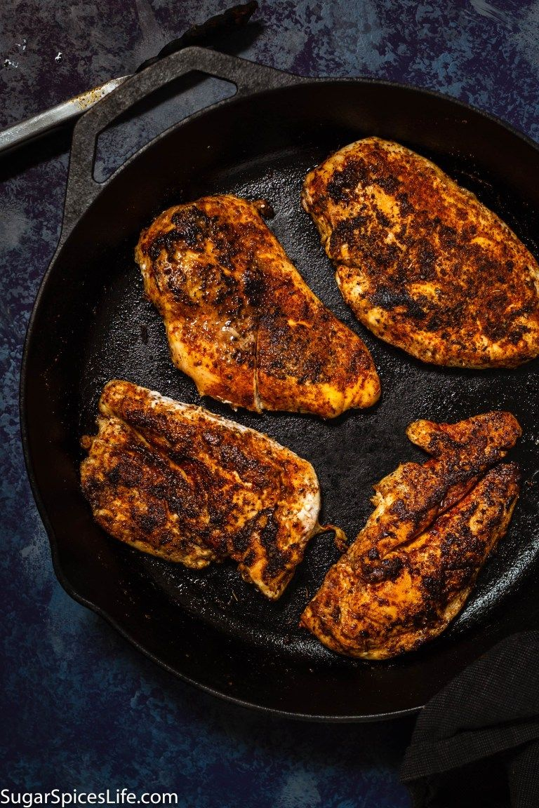 Mild Blackened Skillet Chicken Recipe - Sugar Spices Life #blackenedchicken