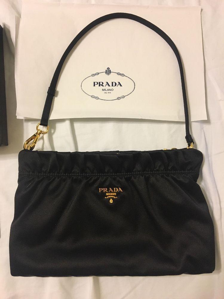 3788f76a3435 AUTHENTIC Prada Black Ruffle Satin Shoulder bag Wristlet clutch Worn Once In  box ebay
