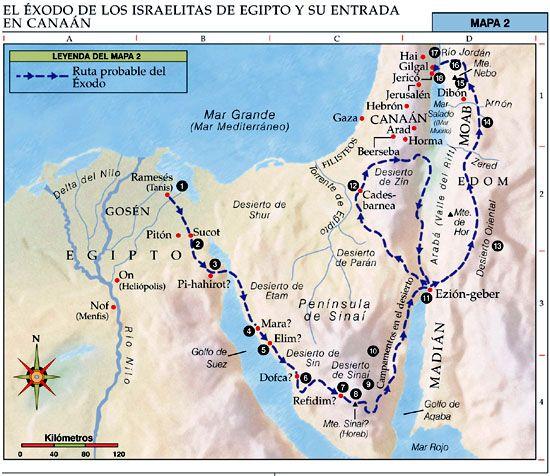 Mapas Bíblicos: El Éxodo de los Israelitas de Egipto y su Entrada en ...