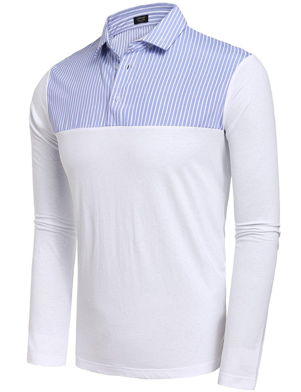 46a2c1c98 Men's Clothing, Shirts, Polos, Men's Casual Polo Collar Long Sleeve Striped  Polo Shirts - Blue - CF17XX84326 #Clothing #men #fashion #Shirts #style  #outfits ...