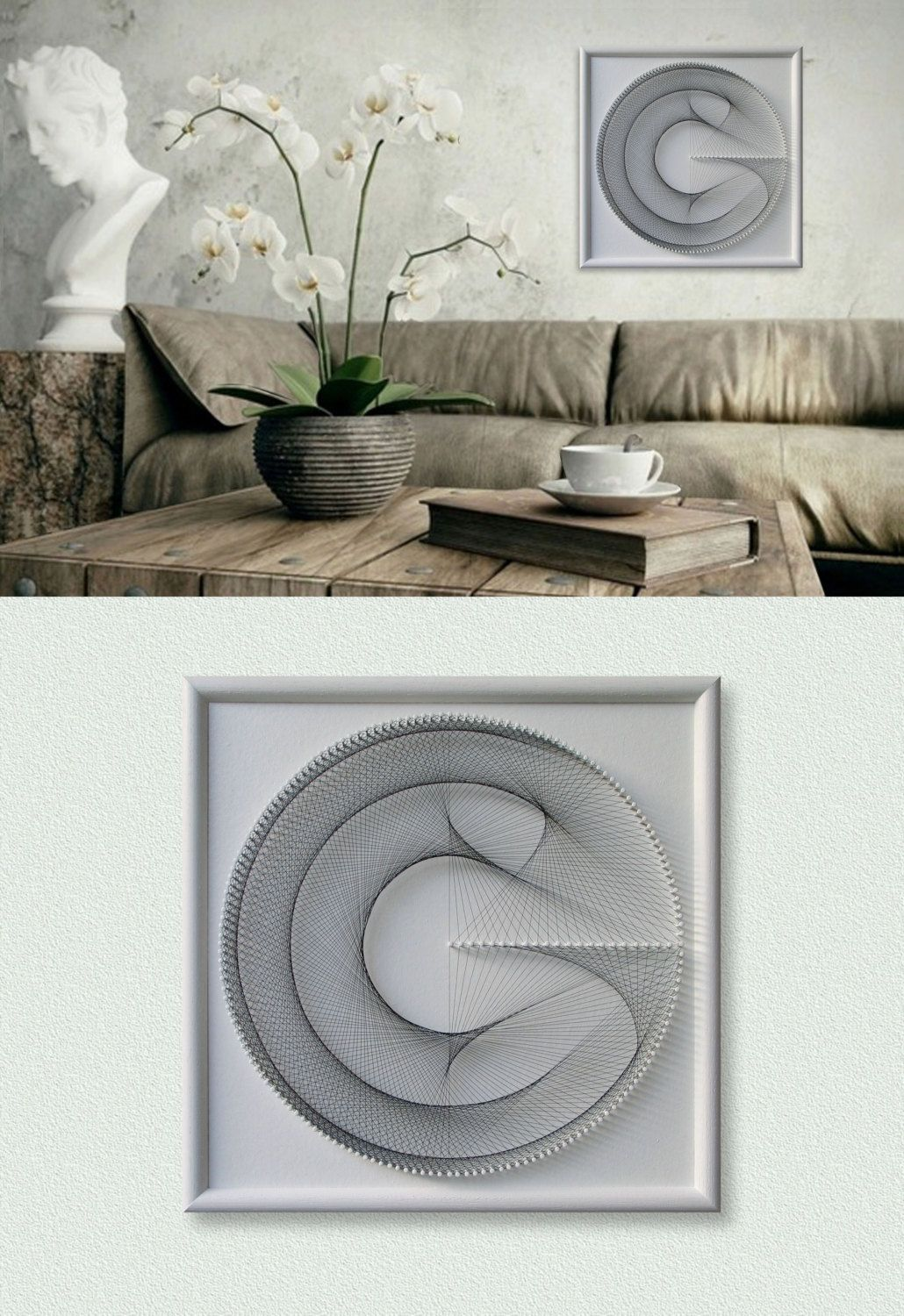 "Home Wall Decor, 3D Modern Abstract String Art, White, Framed 12,6""x12,6"" (32x32cm), ready to hang - pinned by pin4etsy.com"
