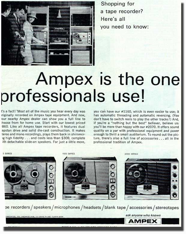 Picture Of 1966 Ampex Tape Recorder Ad Tape Recorder Records Tape