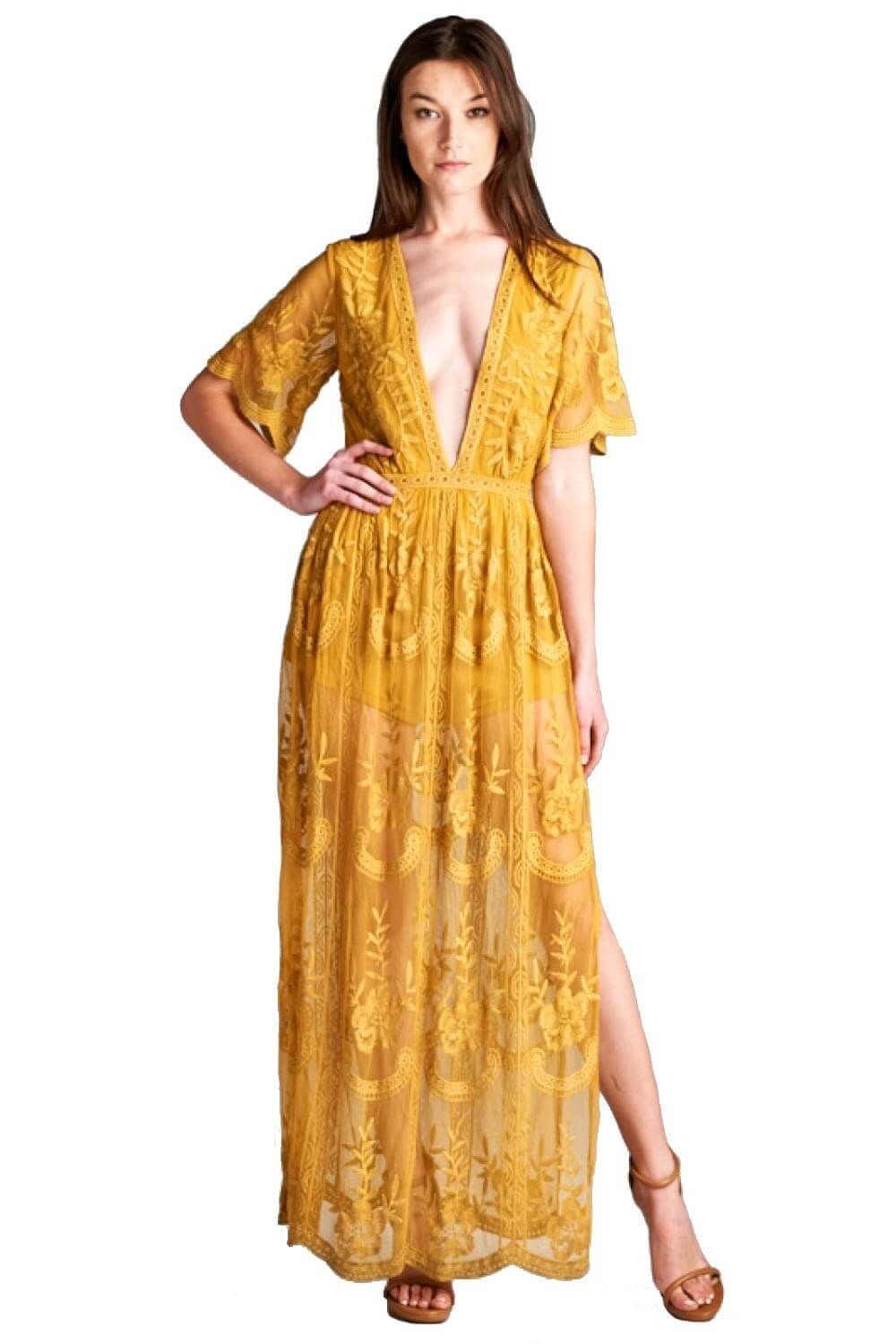 Long lace embroidered maxi dress maxi dresses plunging neckline