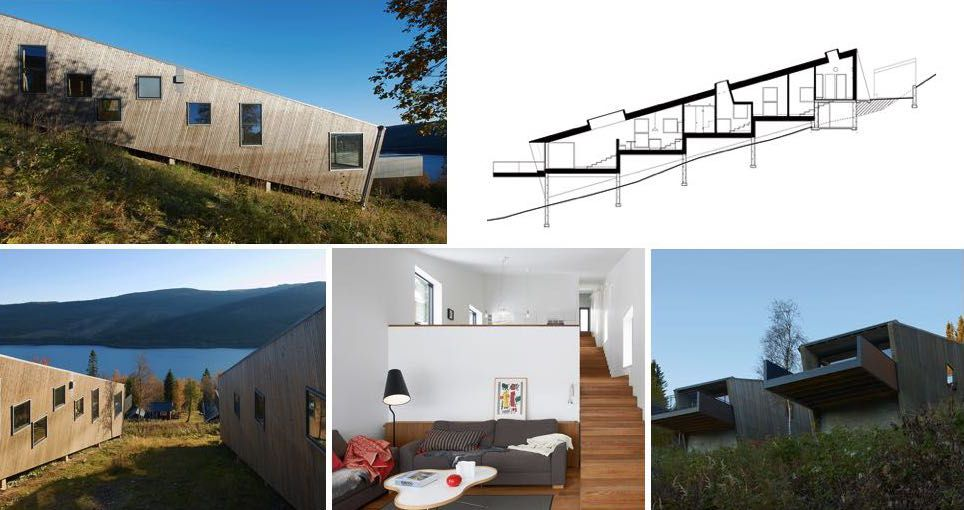 Casas en terrenos inclinados casa en declive pinterest for Jardines pequenos triangulares