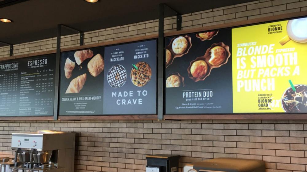 Starbucks Dfw Indoor Drive Thru Menu Boards Osm Solutions Digital Menu Boards Menu Boards Menu Board Design