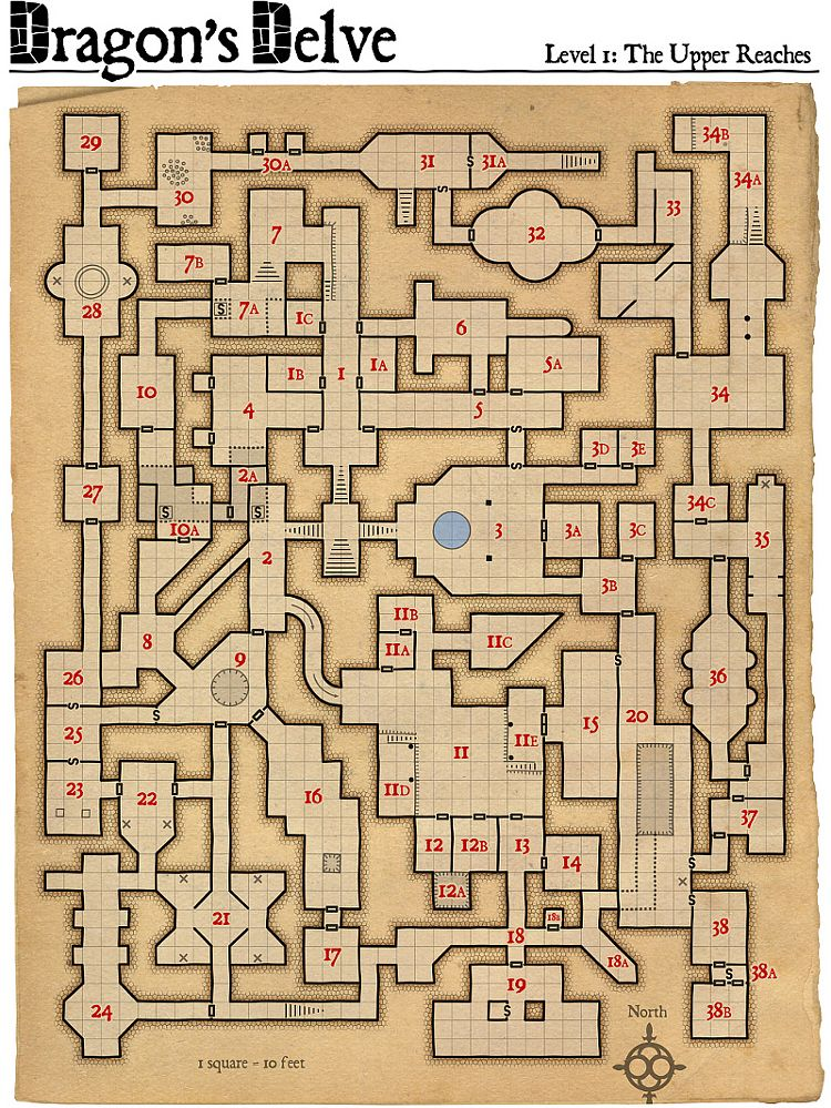 Map level 1 dungeon pinterest rpg for Floor 2 dungeon map
