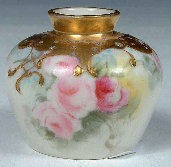 A Very Fine Willets Belleek Miniature Cabinet Vase With Rose