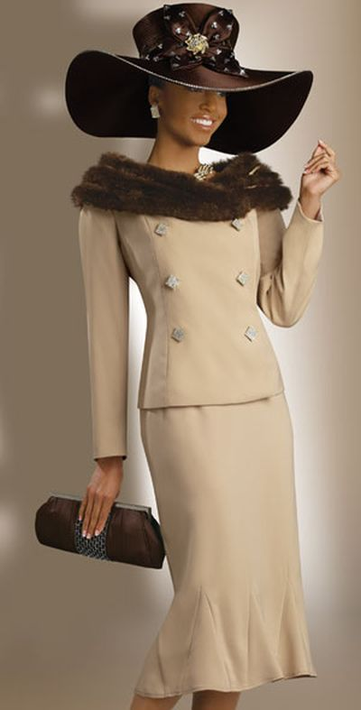 ec7918d7f55 Donna Vinci 11123 Womens Exclusive Church Suit with Faux Fur