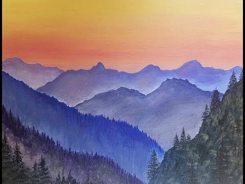 Simple Mountain Landscape Acrylic Painting Tutorial Live Beginner Lesson Free Youtube Mountain Painting Acrylic Beginner Painting Mountain Landscape Painting