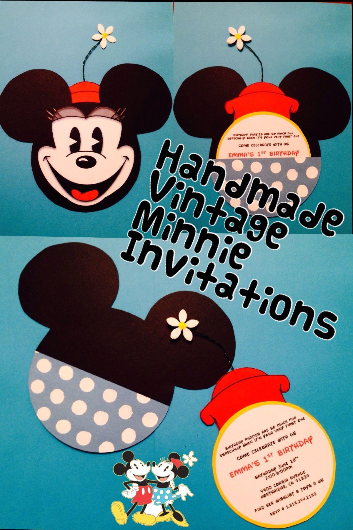 Vintage Minnie Mouse DIY invitations Minnie mouse theme