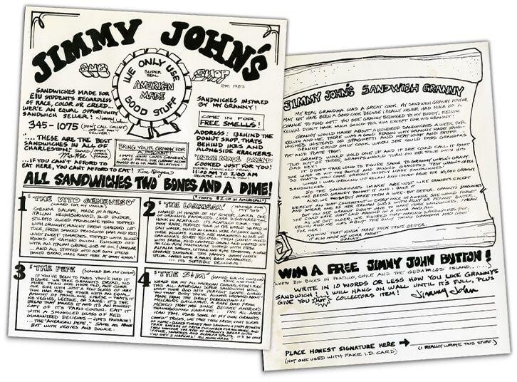 jimmy john s look at the language used restaurant menus