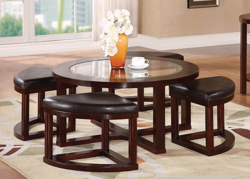 Patia Espresso 5Pc Pack Coffee Table & Ottomans by Acme Furniture ...