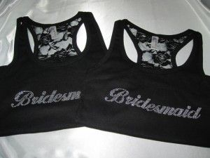Bridesmaid sparkly matching tops with lace back.  So cute!