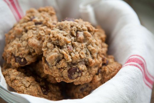 Chewy oatmeal chocolate chip cookies with browned butter, dark chocolate chips, and pecans.