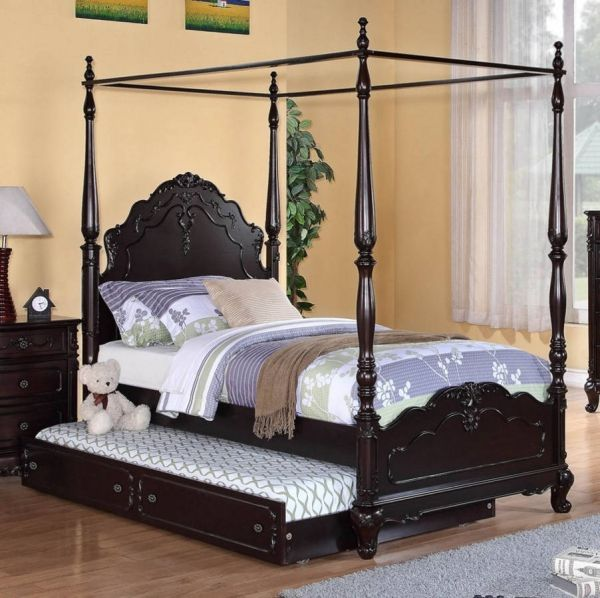 Home Elegance Cinderella Cherry Twin Canopy Poster Bed With