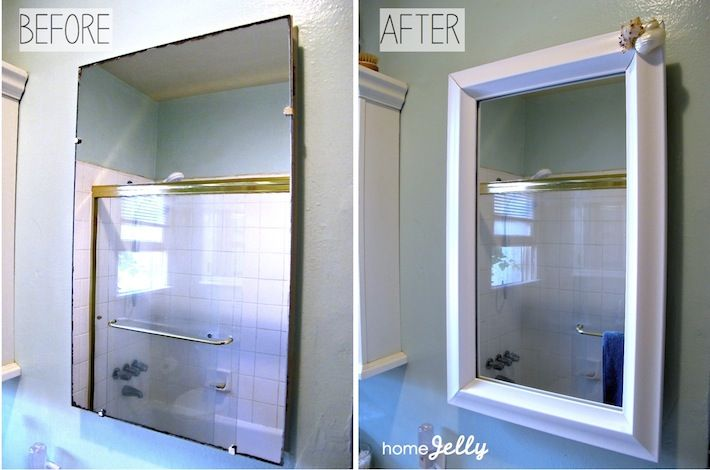 Frame Out Your Old Medicine Cabinet For A Totally Fabulous Makeover Diy Bathroom Makeover Diy Mirror Frame Bathroom Bathroom Mirror Cabinet