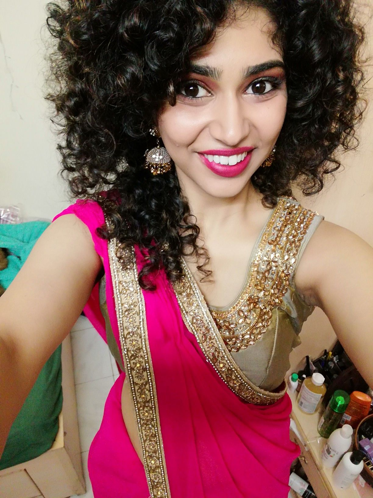 Curly Hair Saree Curled Hairstyles Saree Hairstyles Curly Hair Styles