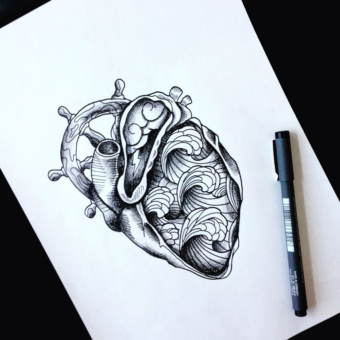 #heart #storm #thunder #helm #waves #tattoo #draw #idea ...