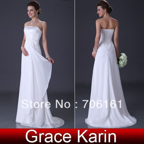 EMS Fast Shipping!Eleagnt Design Grace Karin Chiffon Formal Bridal Gown A Line Wedding Pageant  Evening Dress White/Ivory CL3184