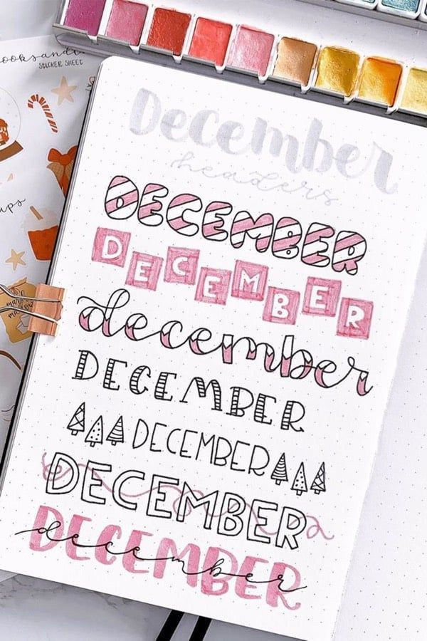 Creative December Headers For Your Bujo Spreads