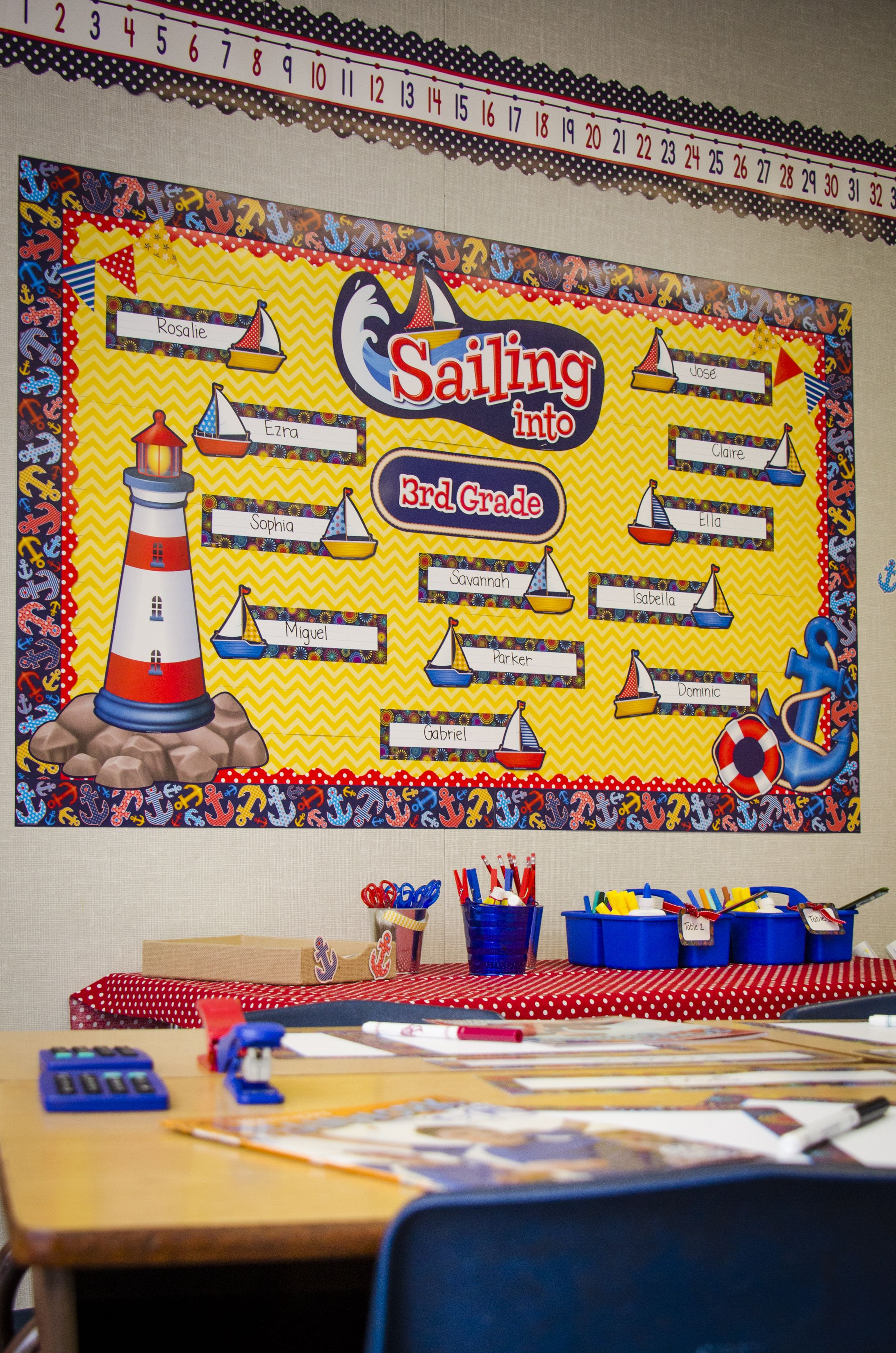 Classroom Decorations Bulletin Board Set ~ Sailing into bulletin board set and anchor border trim