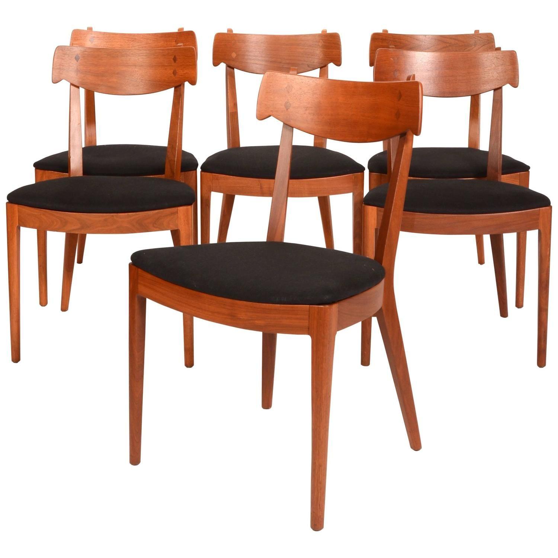 Set Of Six Kipp Stewart For Drexel Walnut 'declaration' Dining Fascinating Drexel Dining Room Furniture 2018