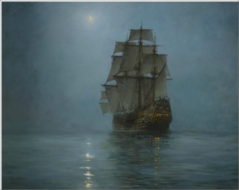 The Crescent Moon - Montague Dawson (1895-1973). Boats, oil painting.
