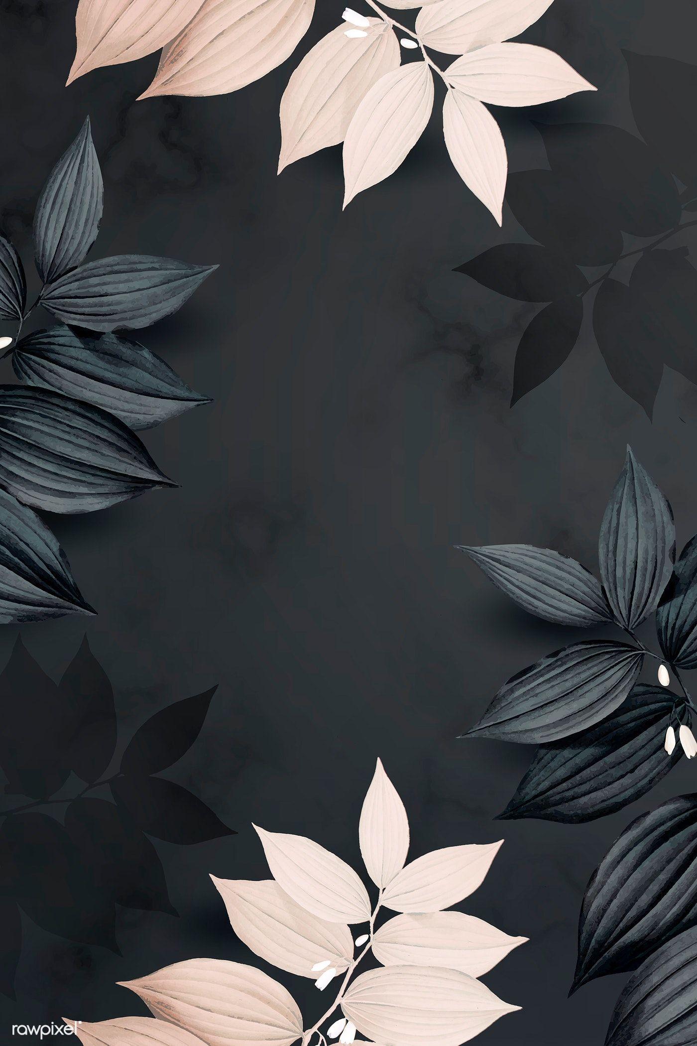 Download Premium Vector Of Foliage Pattern Black Background Vector 936156 Black Background Wallpaper Aesthetic Iphone Wallpaper Iphone Background