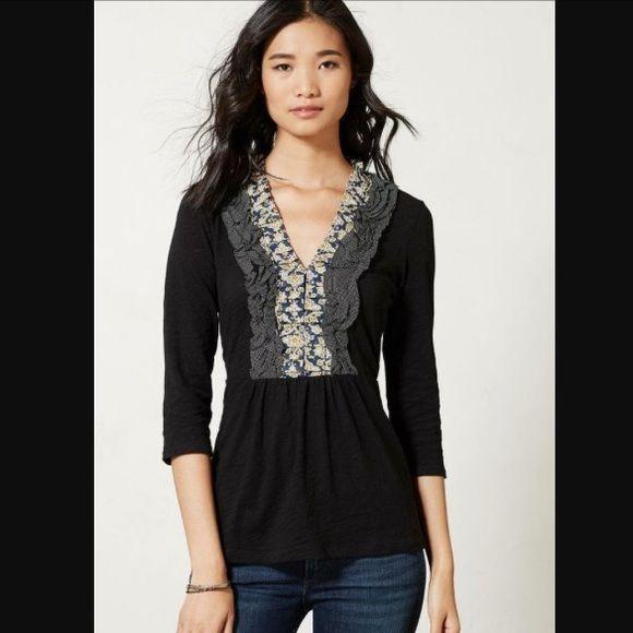 Deletta Ruffle top Beautiful black ruffle top, bundle for discount! Anthropologie Tops Blouses