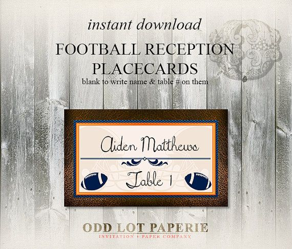 Printable football themed placecards sports by oddlotpaperie printable football themed placecards sports by oddlotpaperie bookmarktalkfo Image collections