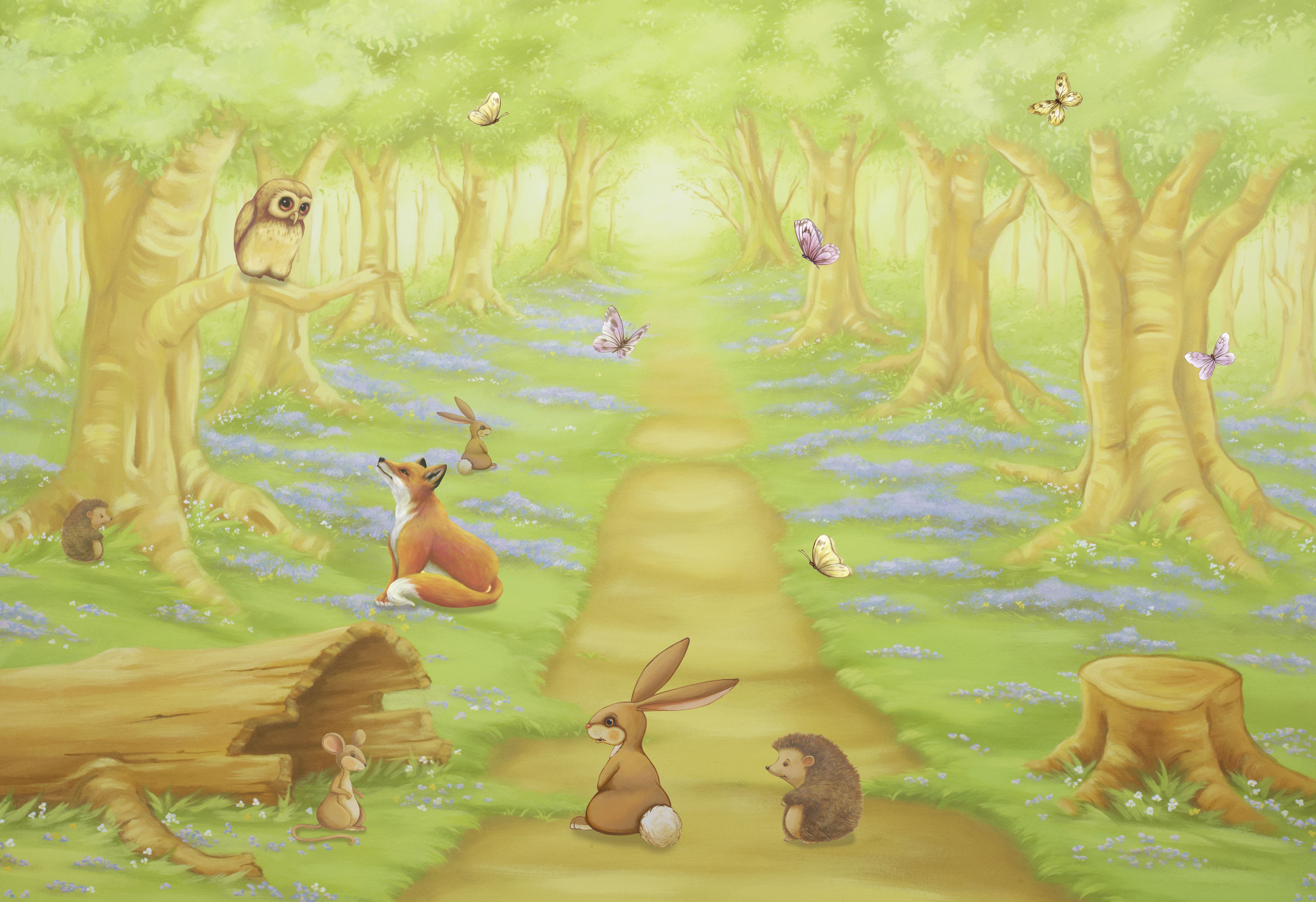 Woodland Animals Mural Also available as a canvas or wallpaper ...