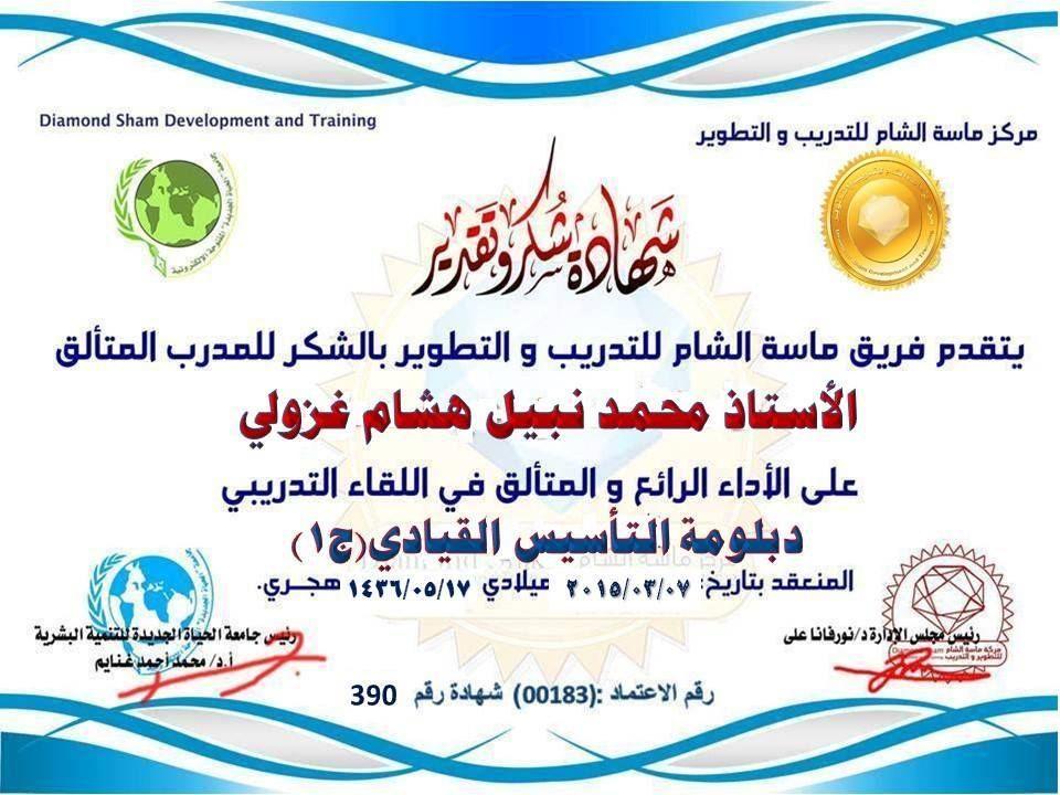 شهادة شكر وتقدير للمدرب الاستاذ محمد نبيل غزولي Development Map Projects