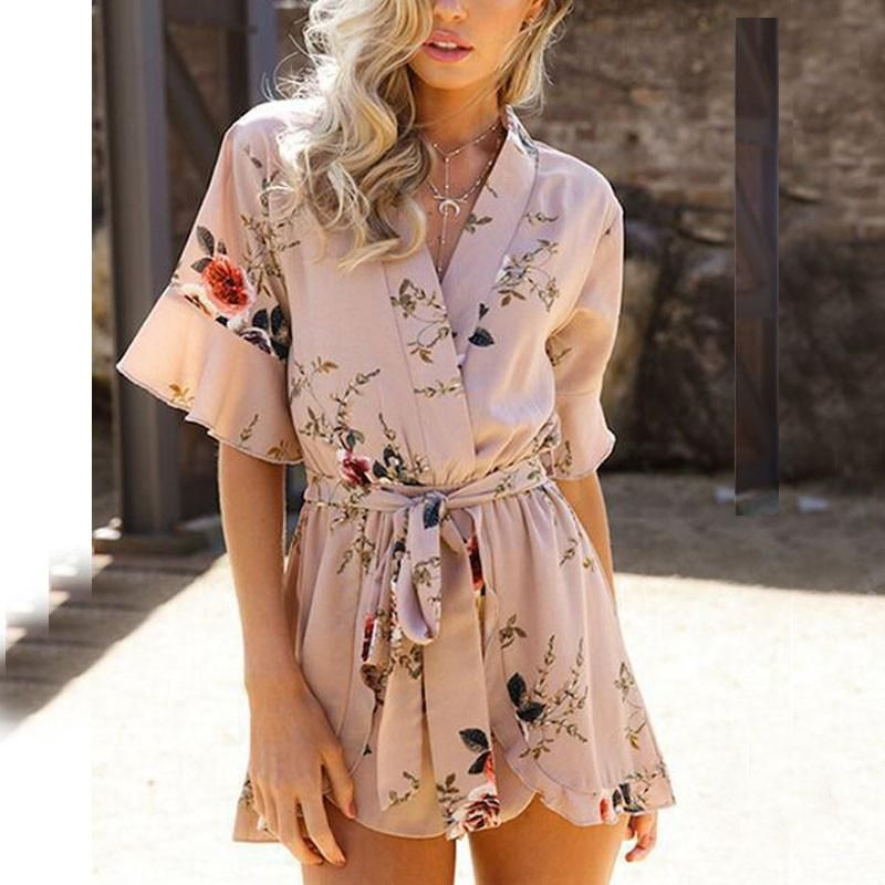 8899692d33 Naiveroo Sexy Jumpsuit Women Playsuits V-neck Floral Print Romper With  Belts Elastic Waist Half Sleeve Ruffles Beach Overalls