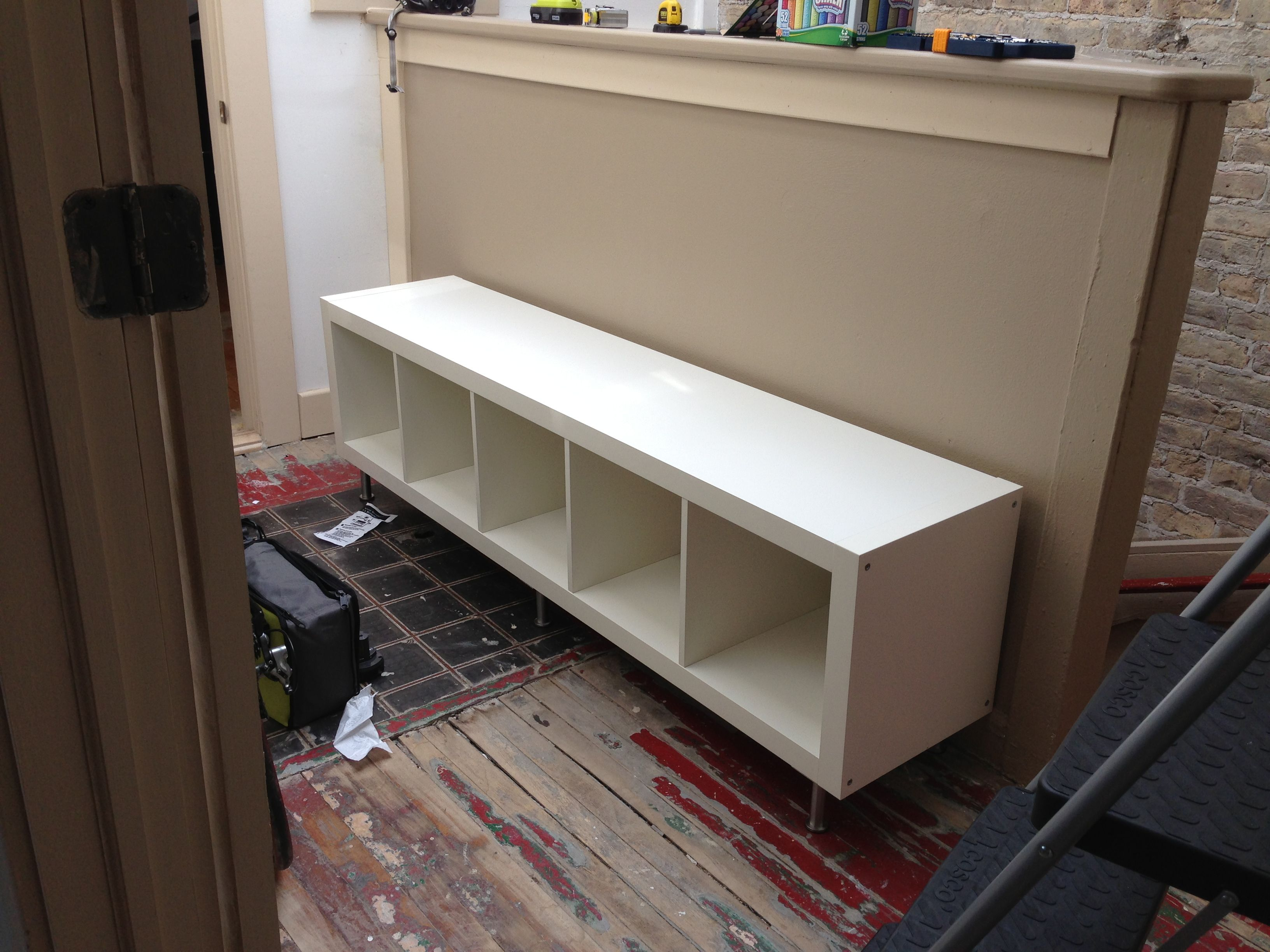 Ikea Hack: Storage Bench Using Expedit Bookcase With Capita Legs. I  Pre Drilled