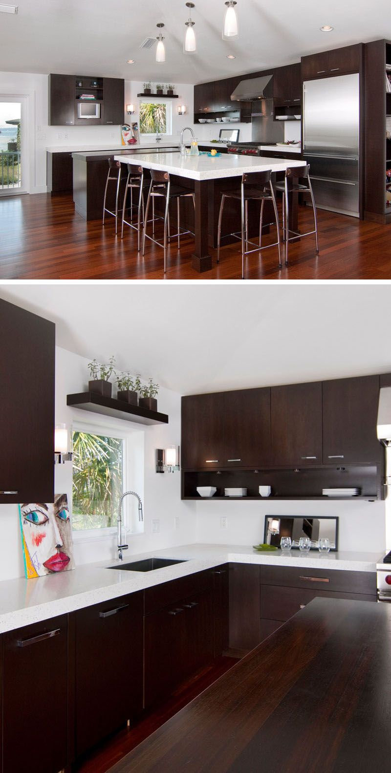 9 Inspirational Kitchens That Combine Dark Wood Cabinetry And White Countertops White Countertops White Kitchen Countertops Dark Wood Kitchens
