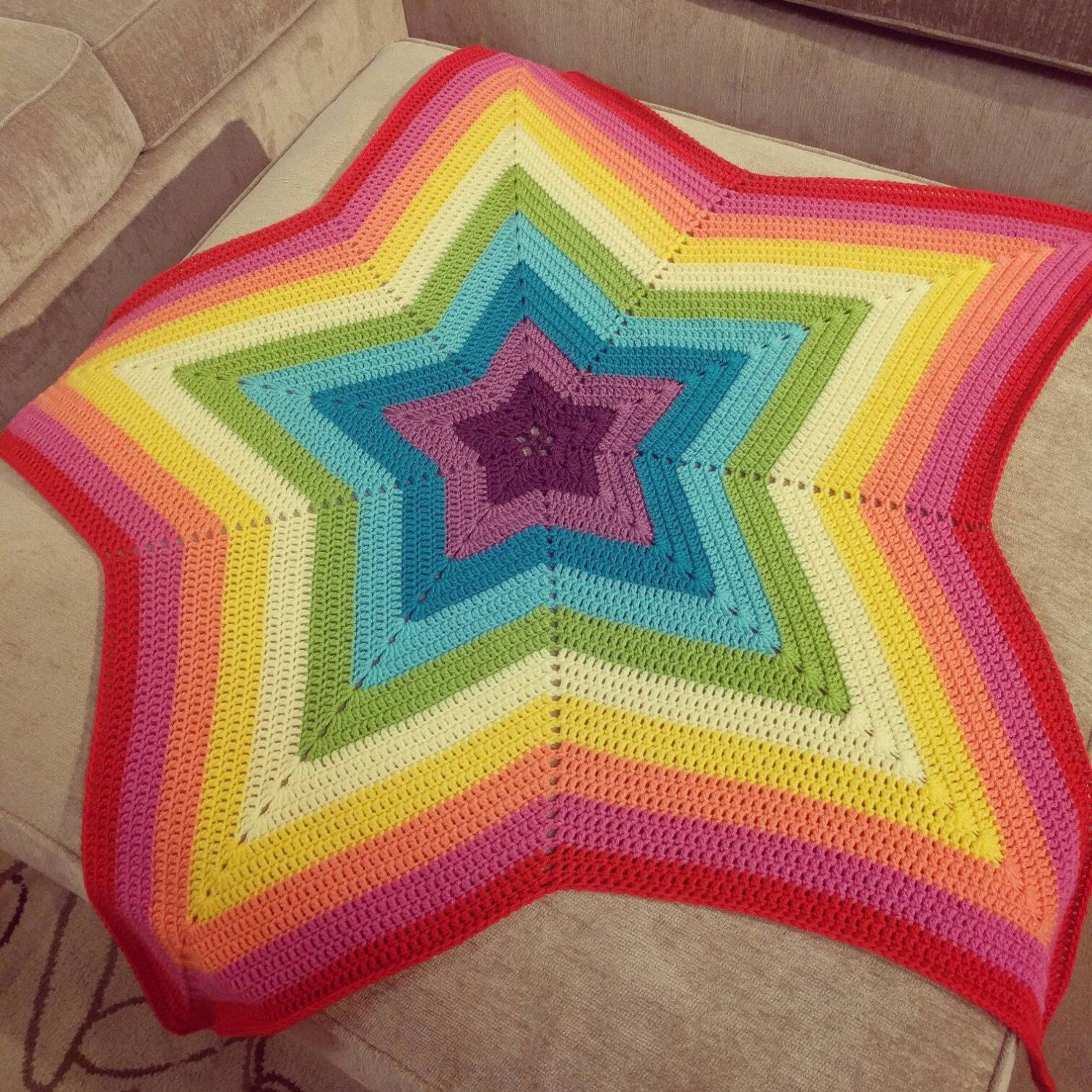 Crochet Rainbow Star Baby Blanket by KatiesCrochetPage on Etsy ...