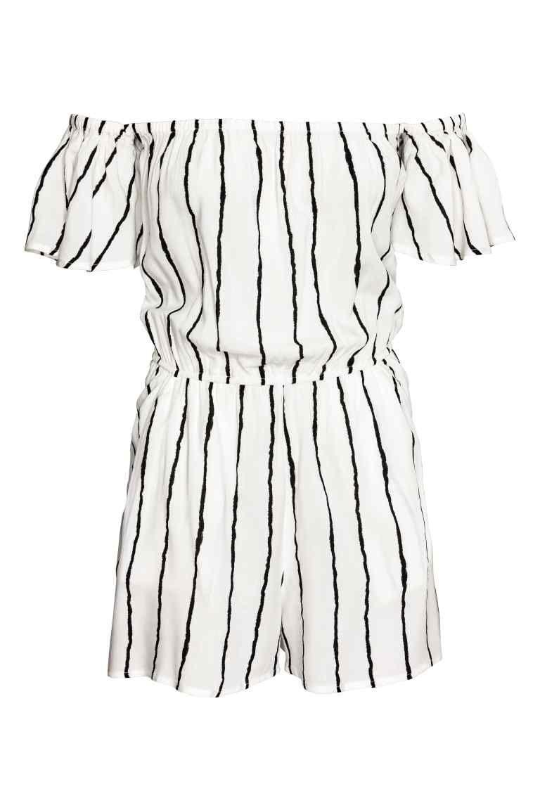 1de5e16b2a Off-the-shoulder playsuit - Natural white Striped - Ladies