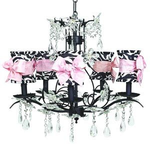 Jubilee Collection Cinderella Black Five Light Chandelier With Hourglass Zebra Sash Shades