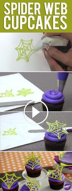 Make candy spider web cupcake decorations for Halloween Watch our - wilton halloween cupcake decorations