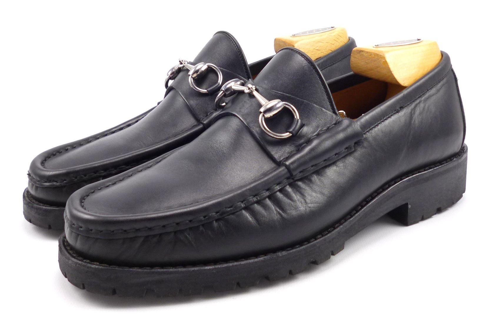 a5b6f773a6d Gucci Mens Designer Shoes 7.5 Leather Lug Sole Horse Bit Loafers 016343  Black