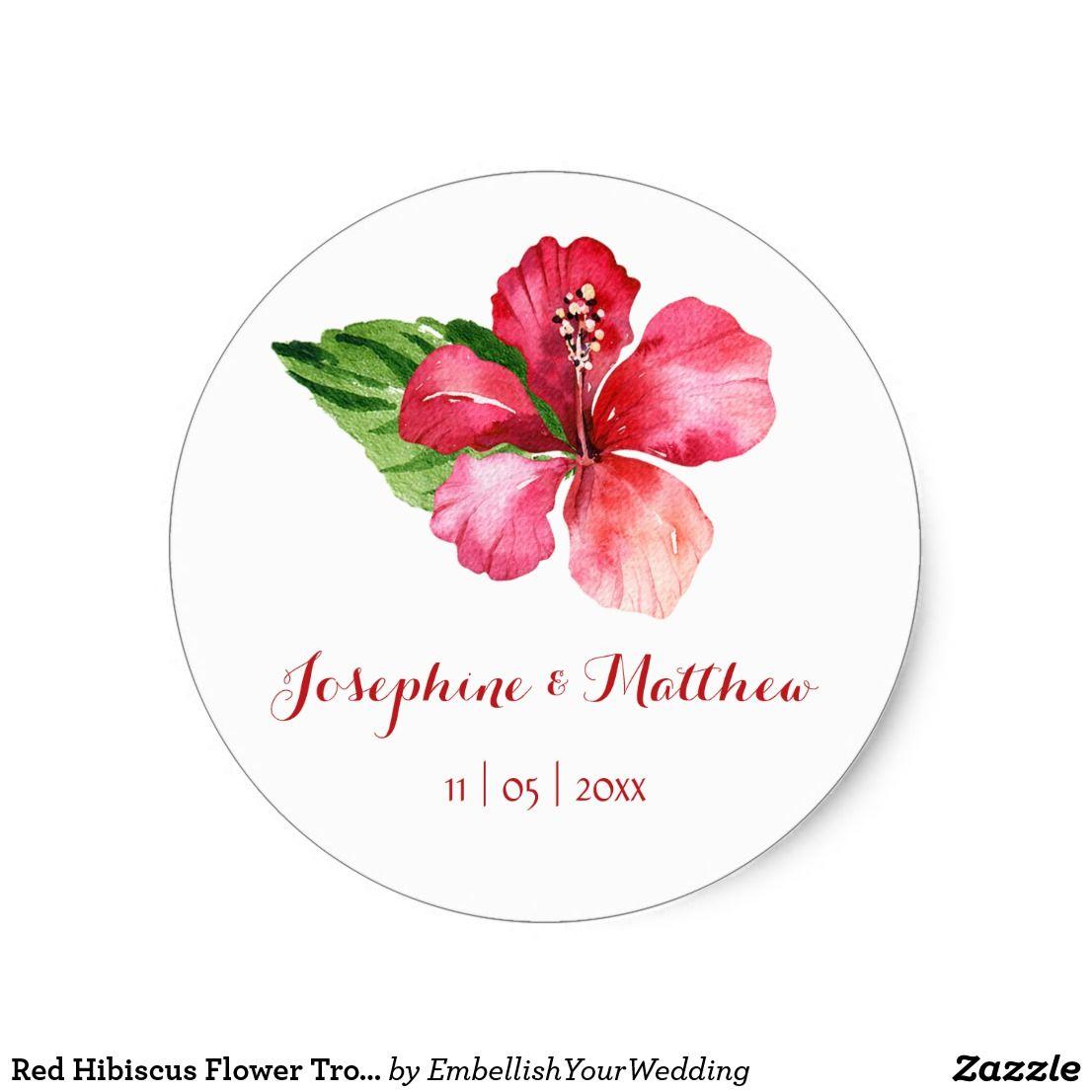 Red hibiscus flower tropical wedding stickers wedding stickers and red hibiscus flower tropical wedding stickers izmirmasajfo