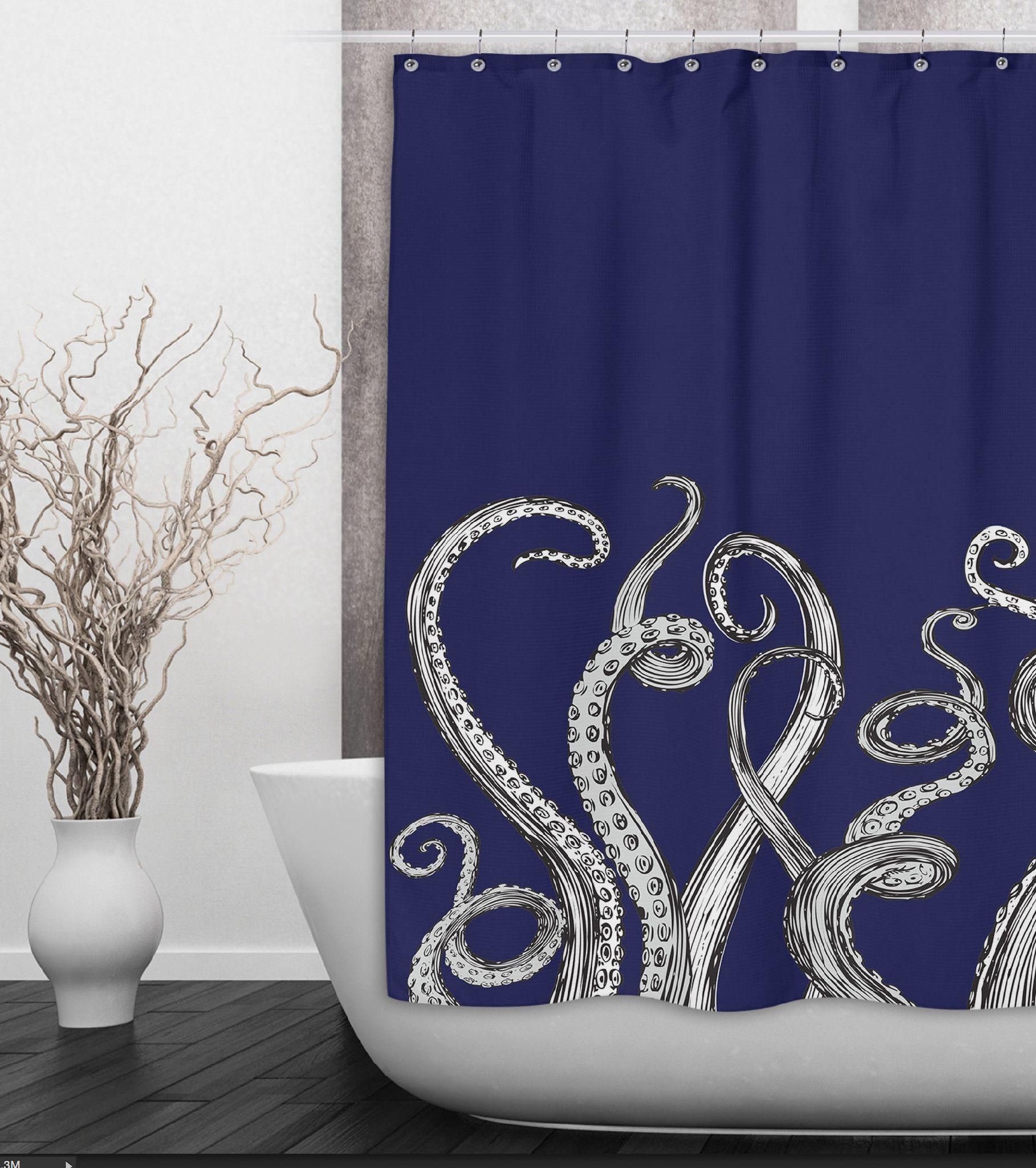 Squid Shower Curtain - Navy octopus tentacle shower curtain