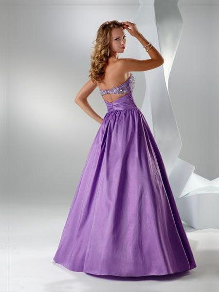 A-line Floor Length Strapless Prom Dress With Sequins And Belt Light Purple