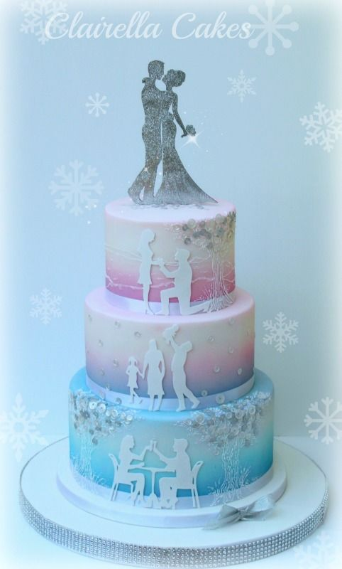 Christmas Love Story Wedding Cake by Clairella Cakes