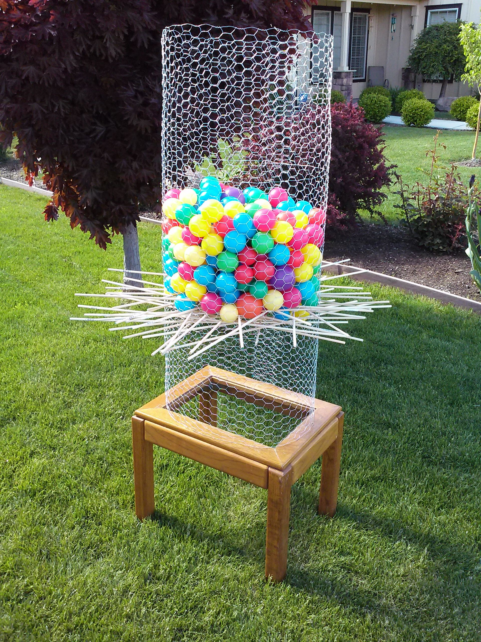 "Backyard Ker Plunk"" I made this DIY Ker Plunk game by upcycling"
