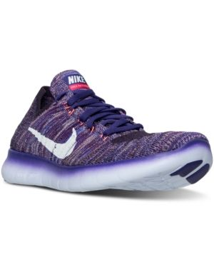 3d25c7de33f Nike Women s Free Rn Flyknit Running Sneakers from Finish Line - Purple 5.5